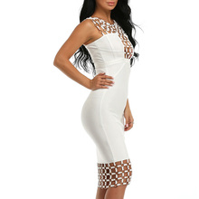 INDRESSME New Bandage Dress 2018 Circle Hollow Out Sleeveless Sexy Bodycon Party Dresses Lady