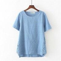 Plus size 3XL 6XL women tops short sleeve 2018 summer t shirt loose basic tshirt lace hollow out tee shirt