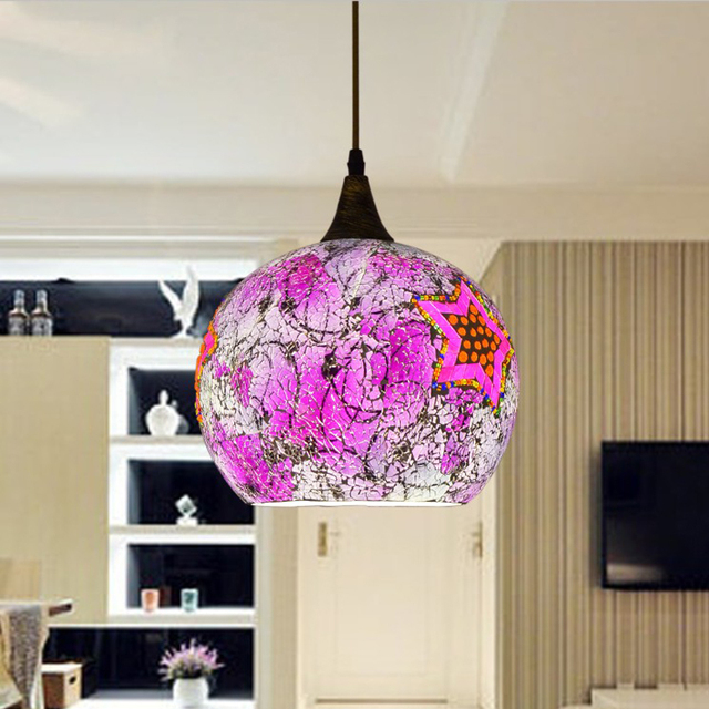 25cm Bohemian style glass lampshade Mediterranean corridor for bedroom single-head pendant lamp a258