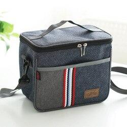 Сумка для ланча из Новой модной джинсовой ткани, термоизолированная сумка для еды, Повседневная Термосумка-холодильник для пикника, термо-Л...