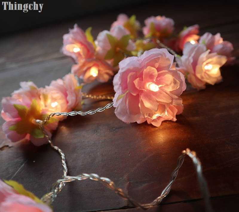 pale Pink blush Rose Flower Fairy string lights 20LED floral wedding party bedroom decoration centerpiece girl for Home Decor