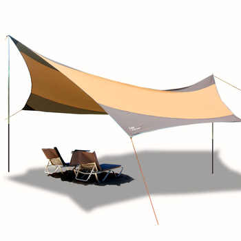 Flytop Ultralarge Waterproof 4-8 Person 550*560cm Tarp Large Gazebo Sun Shelter UV Protection Awning Beach Tent - DISCOUNT ITEM  30% OFF Sports & Entertainment