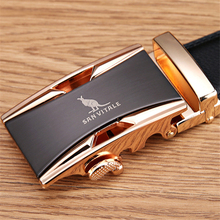 Famous Brand Belt Men 100% Good Quality Cowskin Genuine Luxury Leather Men's Belts for Men, Metal Automatic Buckle