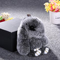 2017 Genuine Rex rabbit Furs Keychain Pendant Bag Car Charm Tag 18cm Fluffy Bunny Rabbit Keychain Toy Doll Fur Monster Keychains