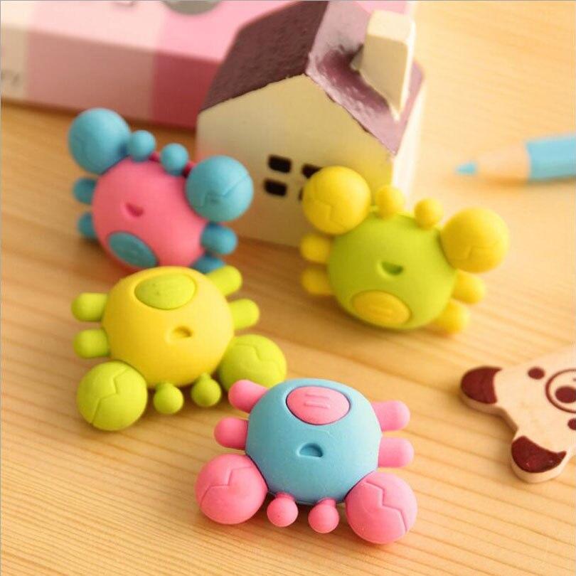 36pcs/lot Cute Small Crab Rubber Pencil Eraser Kids Gift School Supplies Papelaria Material Escolar Office GT085
