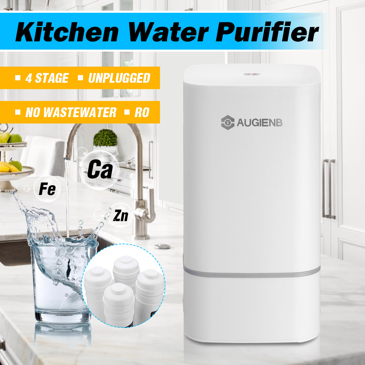 Reverse Osmosis Water Filtration System - 4  RO Water Purifier  - Under Sink Water Filter - Home Water Filtration System