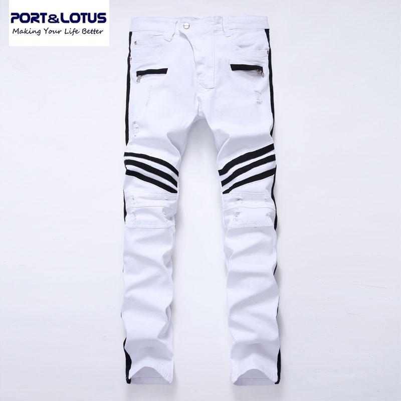 Port&Lotus Fashion Men Jeans Casual Fashion Mens Jeans Brand New Designer Straight Jeans Hole Jeans Cowboy Pants TX006 0103