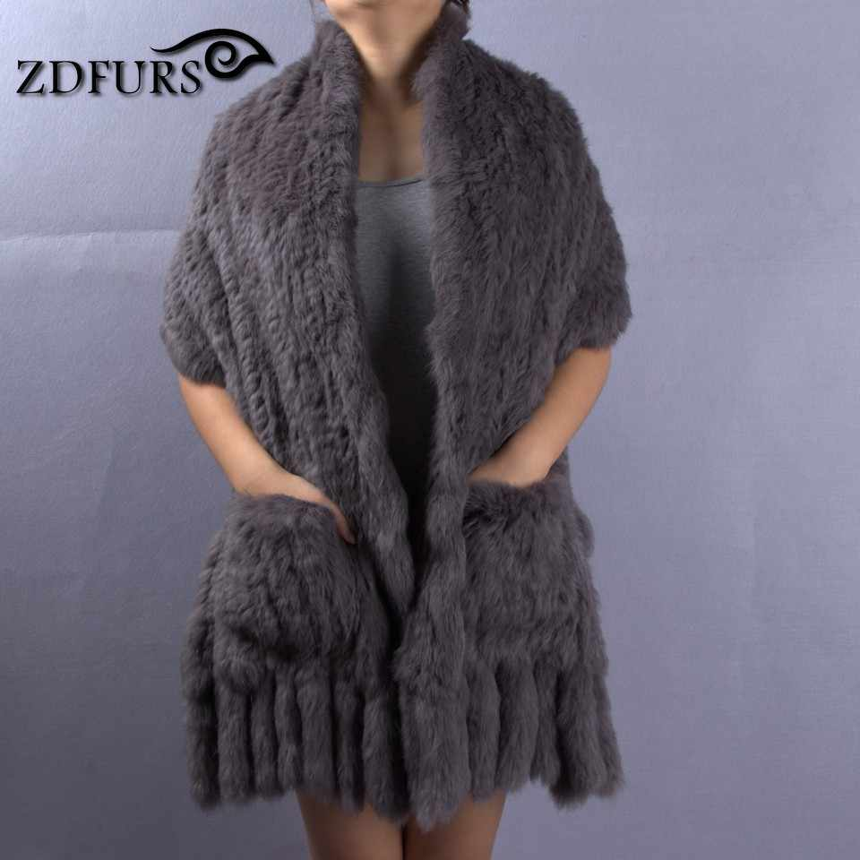 c7c9f5a5e ... ZDFURS * New Real Rabbit Fur Scarf For Women Natural Knitted Rabbit Fur  shawl With Tassel ...