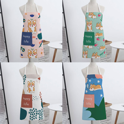Corgi dog couple sleeveless American cloth home kitchen baking apron for cooking men's and women's bibs chef's smocks
