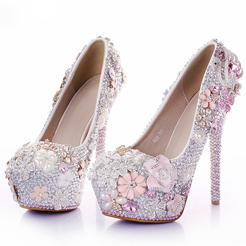 Captivating Rhinestone Flower Pink Wedding Shoes Stiletto Heel 14cm Crystal 2018 Bridal  Prom Bridesmaid Shoes For Mermaid Wedding Dresses In Womenu0027s Pumps From  Shoes On ...