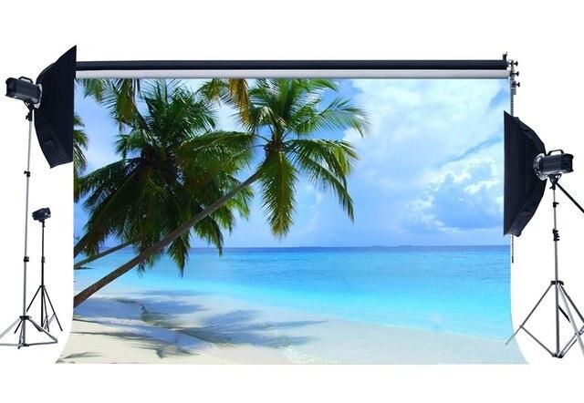 Seaside Praia de Areia Coqueiro Céu Azul Nuvem Branca Natureza Cenário Romântico Verão Fundo de Casamento Do Amante