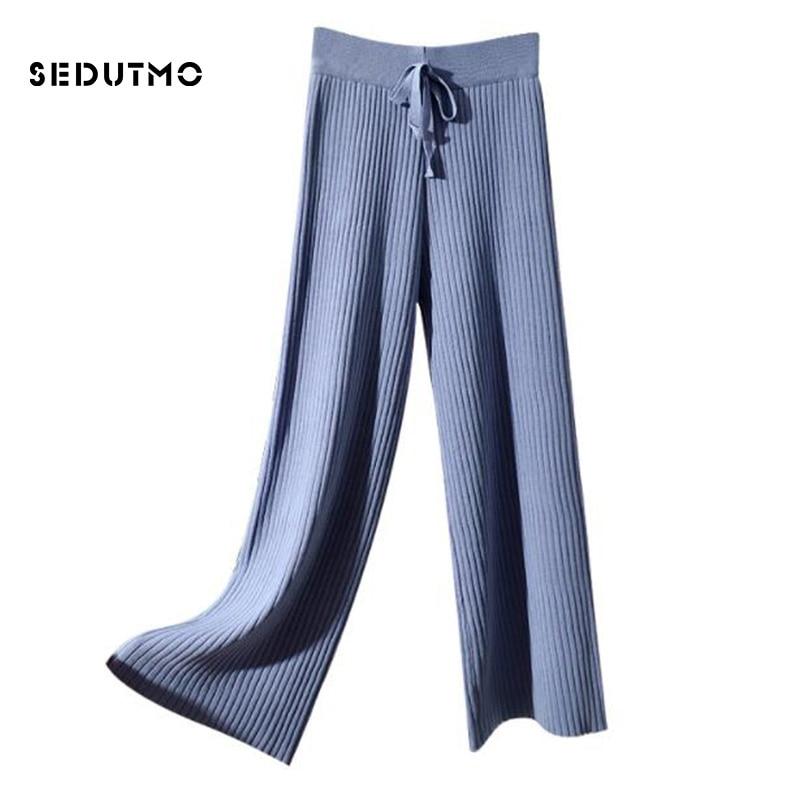 SEDUTMO Spring High Waist Wide Leg Pants Women Knitted Pant Loose Trousers Vintage Casual Streetwear Black Sweatpants ED604 4