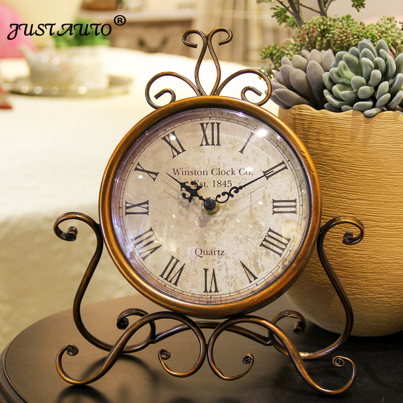 New style European retro iron clock Creative Desk alarm clock wall clock Dual use home Living room bedroom BAR wedding decora