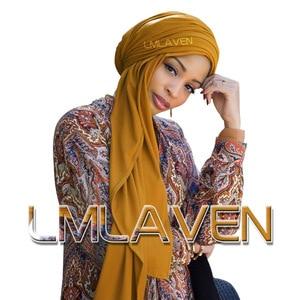 Image 1 - Acanalado liso jersey tipo hijab chal arrugado algodón bufanda pañuelos musulmanes alta calidad pañuelos largos turbante liso 180*85cm