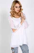Holiday Sale Sexy New Casual Long Sleeve Hollow Out Blouse For Women Loose Chiffon Shirt Plus Size White #6