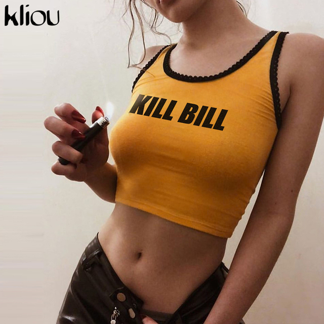 Kliou 2019 new arrival women fashion tank top letter print short knitted lace appliques female sexy skinny casual crop top tees
