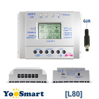 80A 12V/24V LCD Solar Battery Charge Controller Solar Tracking System Controller with Timer and Light Control USB 1.5A5V Output