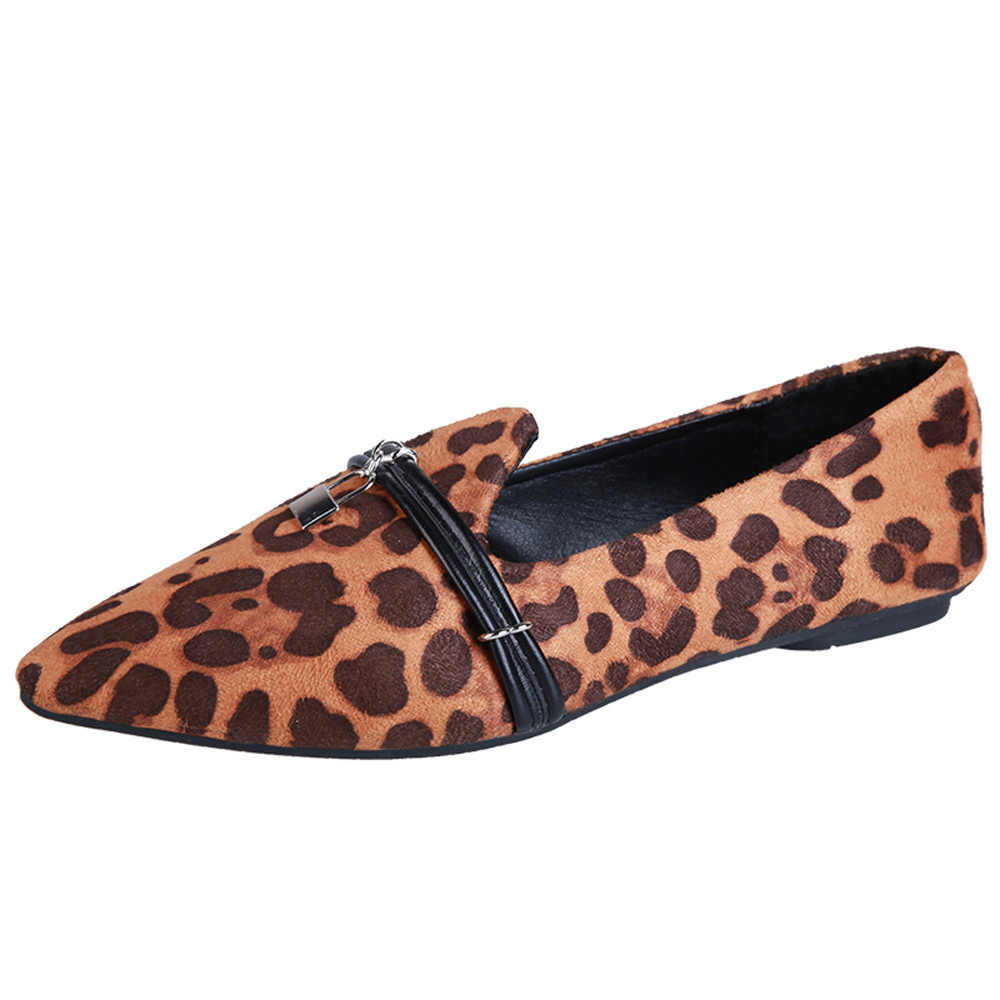 07d68643cd19 Women Flats Leopard Printed Pointed Toe Nubuckle leather Women Leisure Shoes  Matching Slip-on Ladies