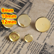 Cabujón de 8mm, 10mm, 12mm de Cobre Oro pernos prisioneros Del Pendiente del camafeo, aretes accesorios de cobre Amarillo, configuración de la base pendientes