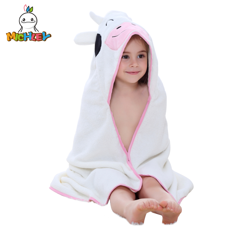 MICHLEY Baby Girls Bathrobe 2019 Cute Shawl Cartoon Animal 0-7 Boys Colorful Hooded Cotton Pajamas Childrens Towel WEA