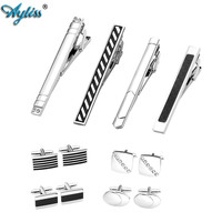 Ayliss 12pcs Men's Classic Stainless Steel Necktie Clips Tie Bar Pin Tie Clip and Cufflinks Set for French Shirts Tuxedo Tone