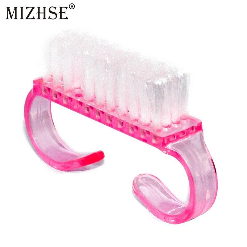 MIZHSE 1pcs Nail Cleaning Brush Dust Clean Handle Scrubbing Tool File Plastic Handle DIY Pedicure Manicure Soft Remove Dust