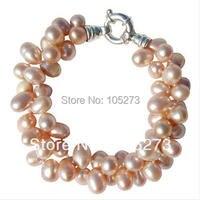 Großhandel Perle Schmuck Ziemlich Chunky Süßwasser-zucht Pfirsich Große Reis Perle Zwei Strang Armband AA6-7MM 7,5 ''Kostenloser Versand