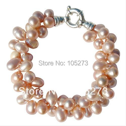 Wholesale Pearl Jewelry Pretty Chunky Cultured Freshwater Peach Large Rice Pearl Two Strand Bracelet AA6 7MM