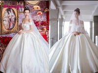 Custom Elegant Satin Wedding Dresses 2019 Plus Size Wedding Gown V neck Lace Up Royal Train Ball Gowns Robe de Mariage