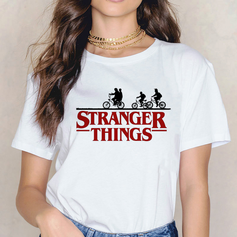 stranger things 3   t     shirt   women top tee harajuku   shirts   female femme   t  -  shirt   Harajuku Funny Movie 90s Casual harajuku tshirt
