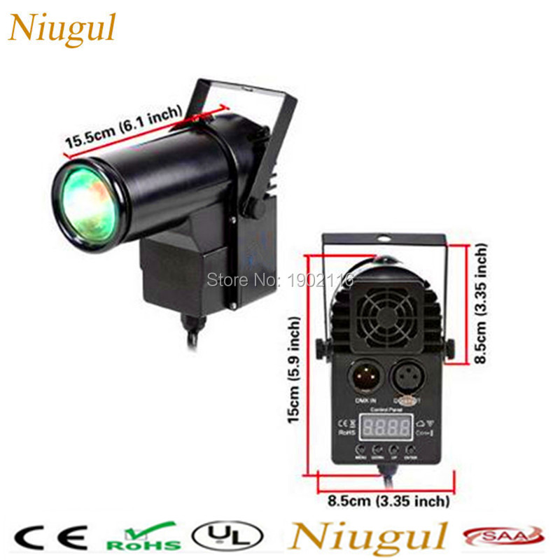 2pcs 10W Mini DMX512 Stage Light /RGBW 4in1 Disco Beam LED Pinspot Light For DJ Party KTV Mirror Ball Pin Spot Lights Spotlights цена