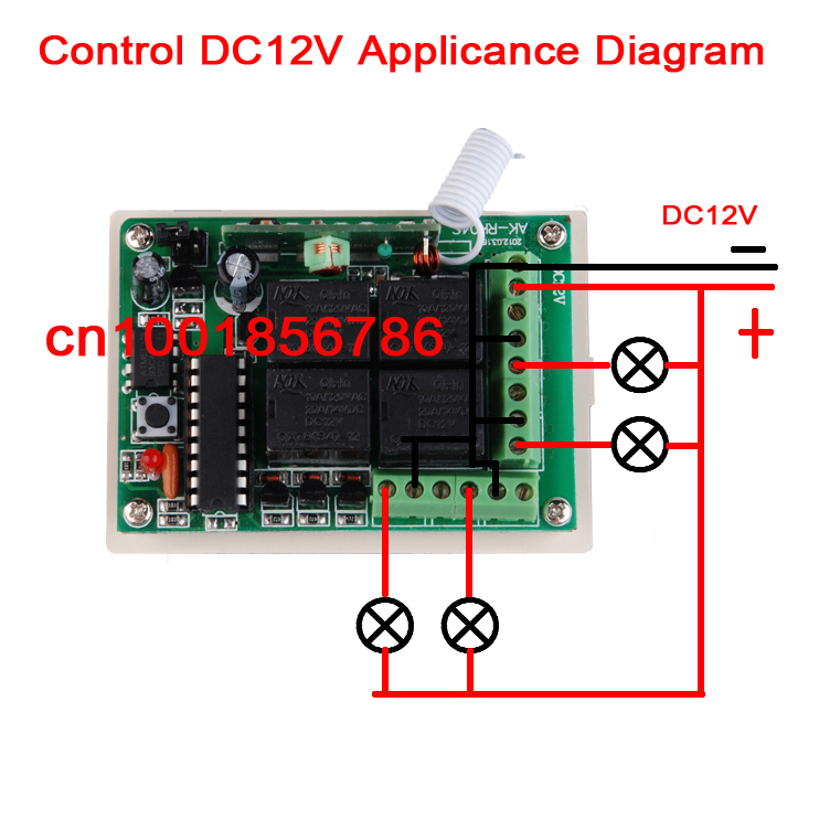 DC12V 10A 4 Channels Learning Code RF Wireless Remote