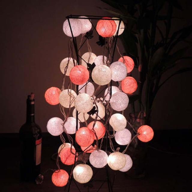 35 tecido orange bolas de algodão fada cordas luzes luminaria para o natal festa de casamento decoração da lâmpada lâmpada de luces navidad