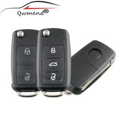 3 Buttons Remote Folding Key Shell for VW Tiguan Golf Sagitar Polo MK6 Touareg Uncut Blade HU66 Fob Case Cover For 5K0837 202 AD