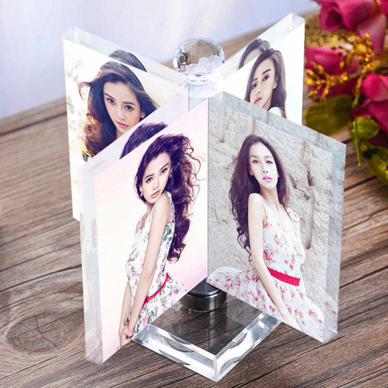 Rotated Windmill Crystal Photo Frame Glass Album for Pictures Frame Friends Unusual Personalized Gift Hold 4 Pic Custom Made