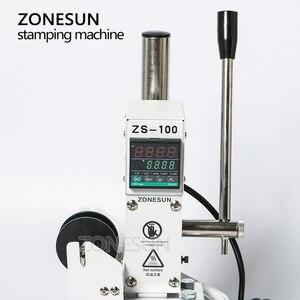 Image 2 - ZONESUN ZS 100A özel Logo sıcak folyo damgalama makinesi manuel bronzlaştırıcı makinesi PVC kart deri kağıt kalem damgalama makinesi