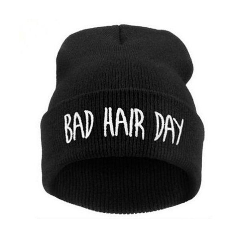 Hat Winter Women Bad Hair Day   Beanie     Skullies   Caps Letter Printed Men Hat Fashion   Beanie   Knitted Hip Hop Punk Warmer Hats Female