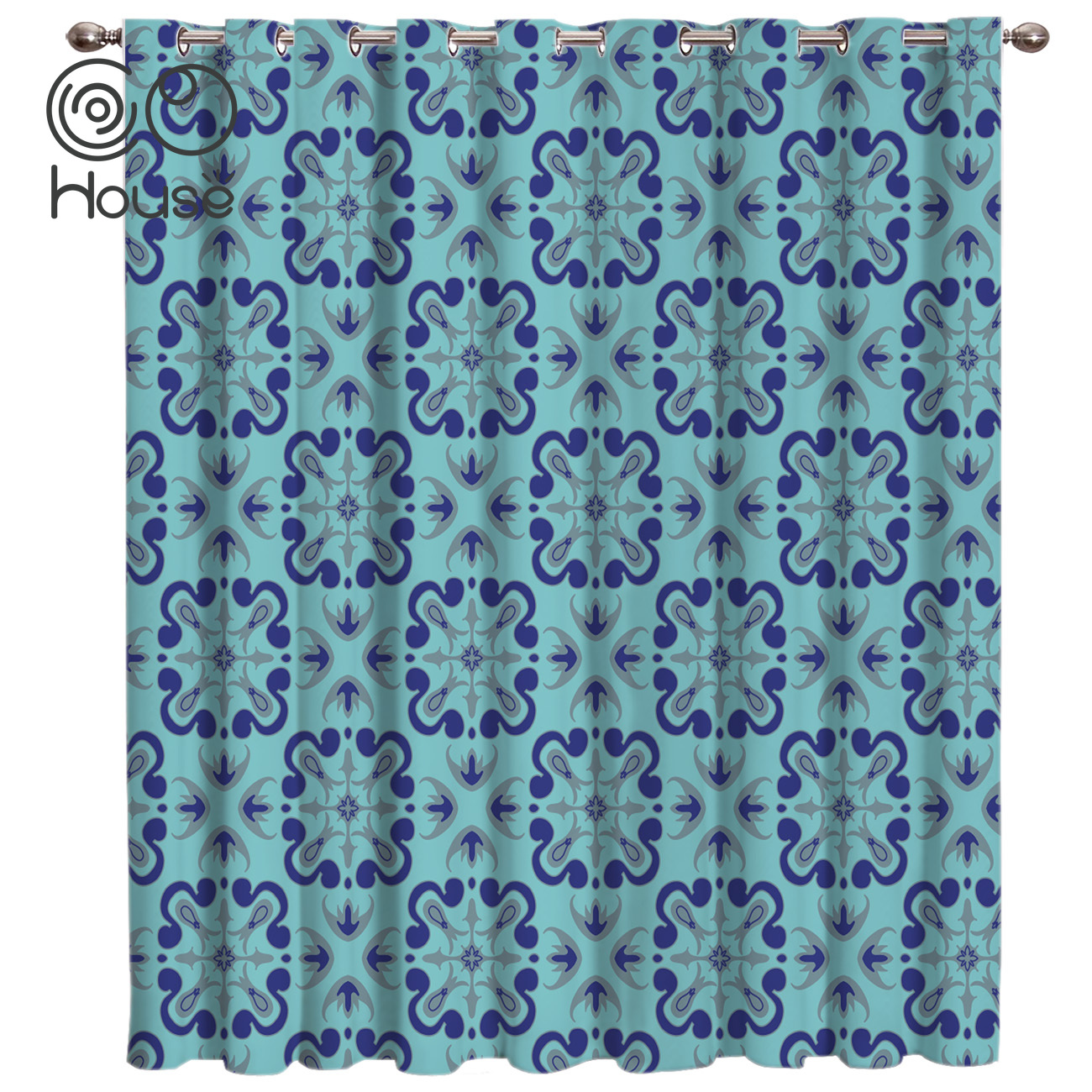 COCOHouse Bohemia Retro Ethnic Blue Room Curtains Large Window Window Blinds Bathroom Swag Curtain Panels With Grommets Window