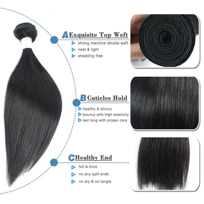 Remy Blue Raw Indian Hair 4 Bundles With Closure Straight Human Hair Weave Extensions Natural Color Thick Bundles With Closure (86)