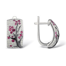 Trendy Transparent Jewelry Gifts Earrings Crystal Flower Plum Tree Branch Blossom Stud Hoop Women