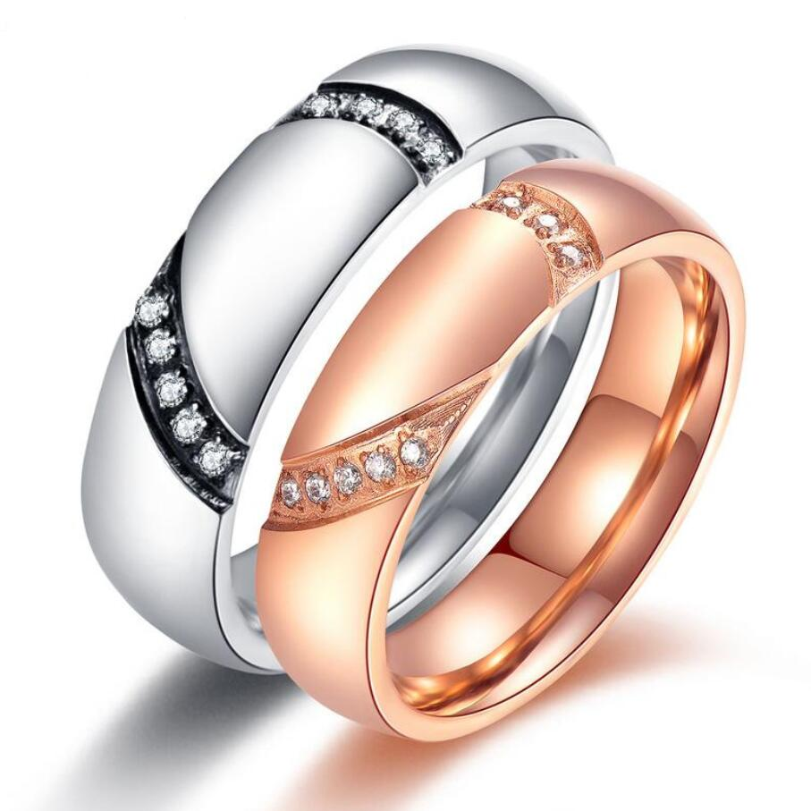 Romantic Heart Engagement Ring For Couple Free Engraved Name Rose Gold  Color Inlaid Zircon Lovers Valentine's