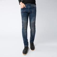 High Quality Men Jeans Casual Design Men Biker Jeans Zippers Straight Slim Fit Elastic Denim Ripped