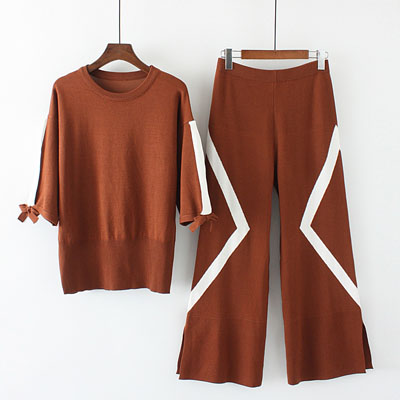 Chic Women Cashmere Wool knitted Sweater Cardigan+Wide Leg Pants Sets 2 Pic Suit
