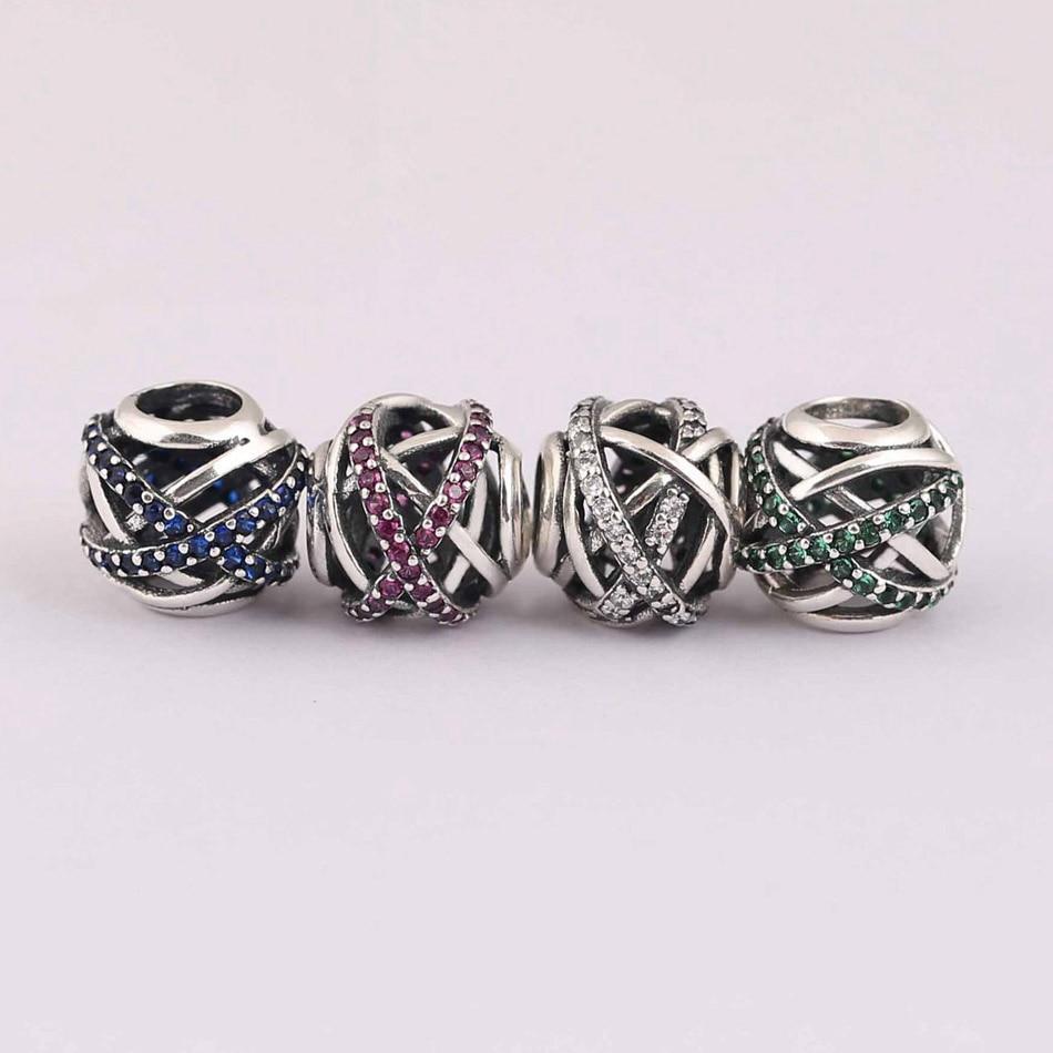 Authentic 925 Silver Bead Charm Fit Pandora Bracelet Bangle Galaxy Charm Green Clear Pink Blue CZ Lady DIY Jewelry