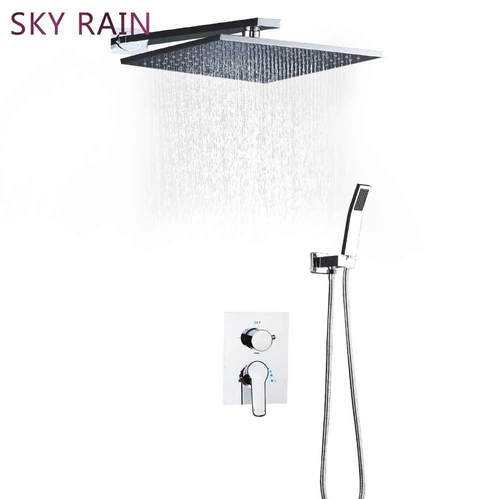 Небо дождь высокое качество полированная душевая головка латунь водопад смешанный режим смеситель для душа набор со встроенным ящиком