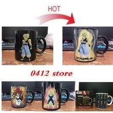 Farbwechsel Becher Dragon Ball Z Becher Goku Wärme Reaktiven keramik Super Saiyan Kaffeetassen Taza Goku für freund Geschenk Stern krieg