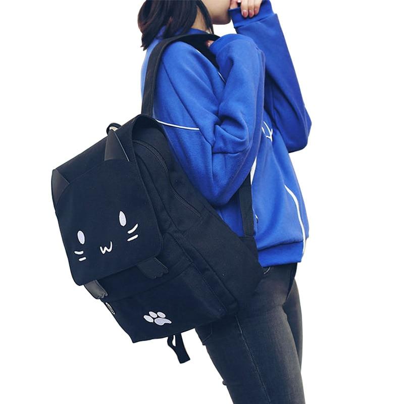 Cute Cat Canvas Backpack Cartoon Embroidery Backpacks For Teenage Girls School Bag Fashio Black Printing Rucksack Cute Cat Canvas Backpack Cartoon Embroidery Backpacks For Teenage Girls School Bag Fashio Black Printing Rucksack mochilas XA69H
