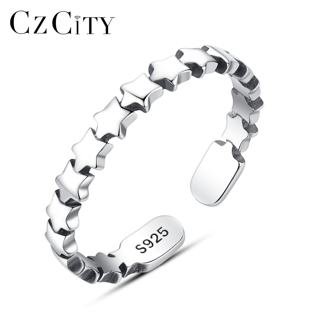 CZCITY Exquisite Sterling Silver 925 Open Rings for Women Star Design Glossy Fascinating Bone Shaped Adjustable Ring AnniversaryCZCITY Exquisite Sterling Silver 925 Open Rings for Women Star Design Glossy Fascinating Bone Shaped Adjustable Ring Anniversary