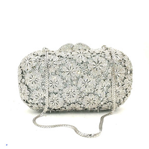 Image 5 - Women evening party bag diamonds luxury crystal clutch bridal wedding party purses bag flower chrysanthemum crystal purses