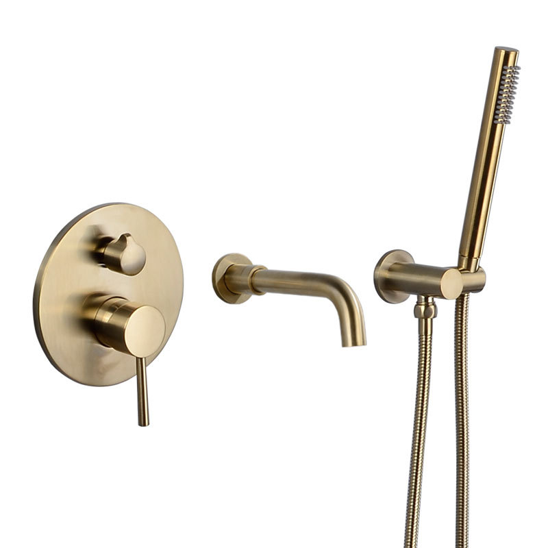 Wall Mounted Brushed Gold Bathtub Shower Faucet Hot Cold 2Function Mixer Taps Rose Gold Bathroom Shower Faucet Bath Spout Shower